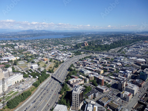 Aerial view of downtown Seattle buildings, Union Lake and I-5 Highway