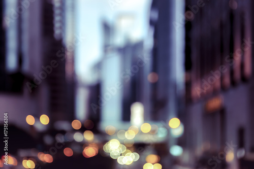 Blur image of Hong Kong night view with circle bokeh in vintage style - 175156304