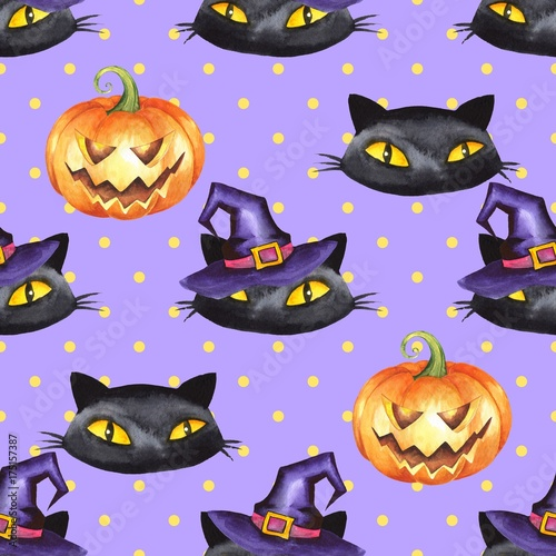 Cotton fabric Halloween watercolor seamless pattern 9. Black cat, pumpkin, witch hat