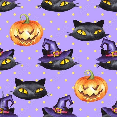 Materiał do szycia Halloween watercolor seamless pattern 9. Black cat, pumpkin, witch hat