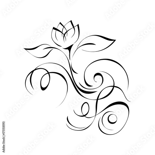 ornament 136. stylized flower in black lines on a white background