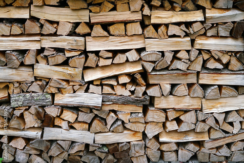 Tuinposter Brandhout textuur stacking fire wood