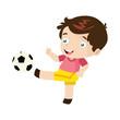 Boy Play Soccer Cartoon Vector Illustration - 175163990