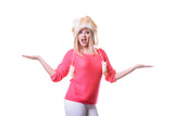 Attractive woman wearing furry winter hat - 175164337