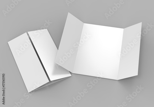 single open gate fold brochure 3 panel and six pages leaflet blank