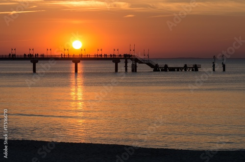 Foto op Canvas Baksteen Pier in Miedzyzdroje resort - Baltic seascape at sunset, Poland