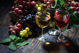 assortment of wine on wooden table, top view