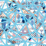 Blue mosaic triangle seamless pattern
