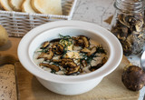 creamy soup of forest mushrooms, dill, eggs and cream - Kulajda - 175168514
