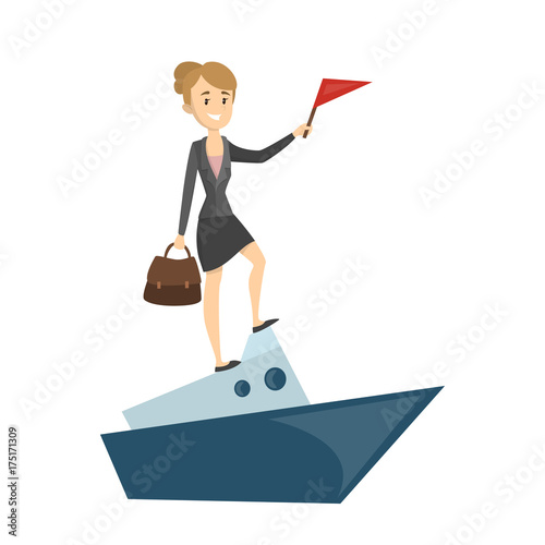 Businesswoman on boat.