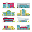 Contemporary shopping mall and store buildings vector icons