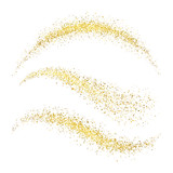 Fairy christmas golden stardust. Glamour gold waves with glittering stars isolated on white background vector set