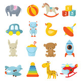 Cartoon children toys vector icons collection