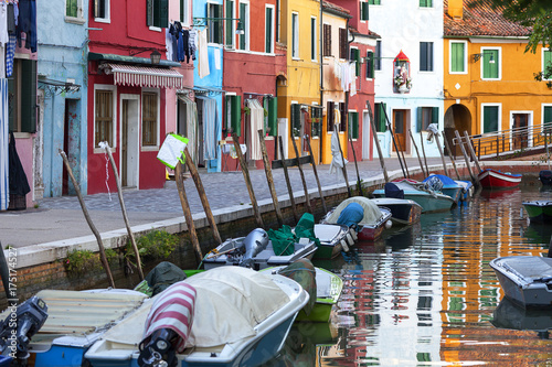 Foto op Canvas Caraïben Colorful small, brightly painted houses on the island of Burano, Venice, Italy