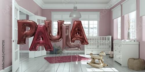 Leinwanddruck Bild Name Paula Luftballons im Kinderzimmer