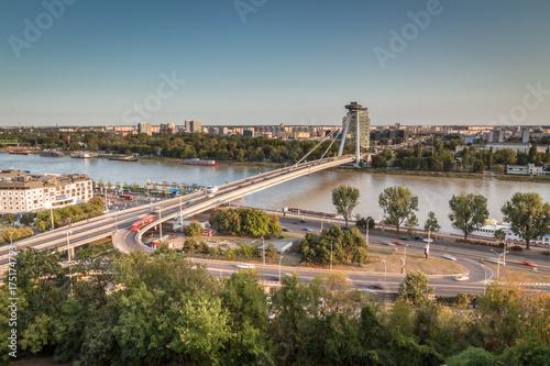 Bratislava panorama with bridge Poster