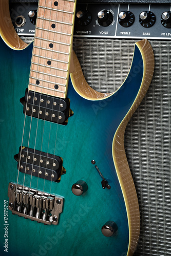 electric guitar with amplifier Poster