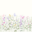 seamless floral border with meadow flowers and buttwerflies - 175179360