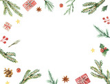 Watercolor vector Christmas frame with fir branches and place for text. - 175180580