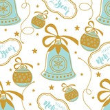 Seamless pattern with Christmas elements. Vector illustration. - 175181179