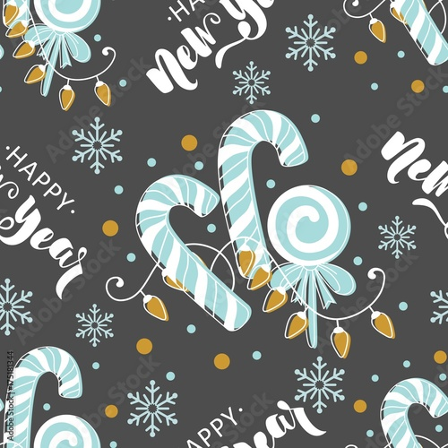 Poster Vlinders in Grunge Seamless pattern with Christmas elements. Vector illustration.