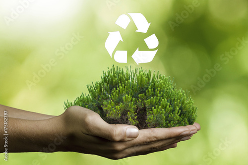 hands with tree and recycle signal
