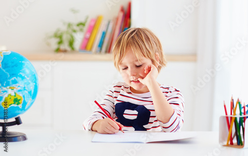 Papiers peints Echelle de hauteur young kid, boy doing homework at home