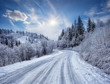 Road in the mountains covered with snow - 175184572