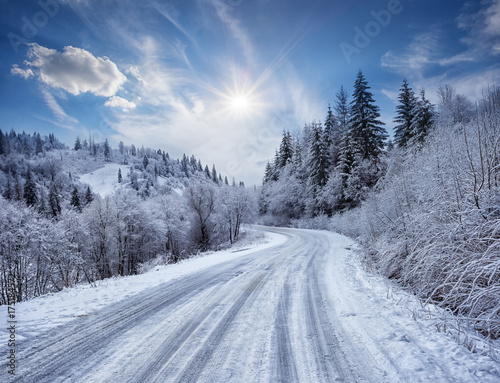 Fridge magnet Road in the mountains covered with snow
