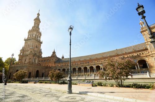Beautiful view of historical buildings Plaza de Espana