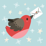 Cute illustration of flying bird holding letter with Christmas decoration