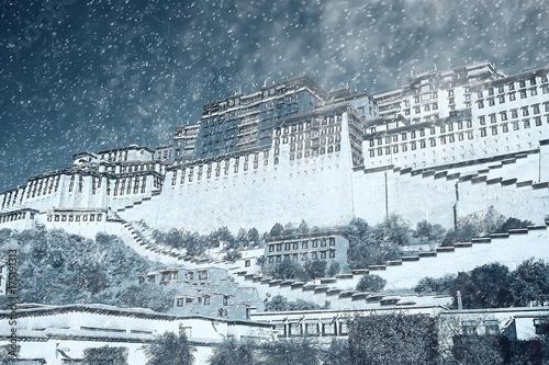 Poster Wit Tibetan landscape travel