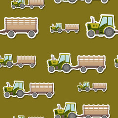 Seamless pattern with farm tractor and trailer for your design