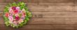 Leinwandbild Motiv Rosen und Holz