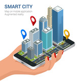 Fototapety Isometric Smart City concept. Mobile gps navigation and tracking concept. Hand holding smartphone with city map path and location mark on the screen.