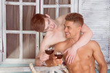 Romance and love. Holidays in the tropics. Happy couple. Attractive guys. - 175197186