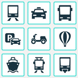 Transportation Icons Set. Collection Of Streetcar, Airship, Omnibus And Other Elements. Also Includes Symbols Such As Car, Moped, Airship. - 175198161