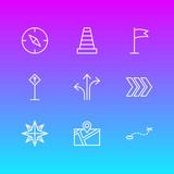 Vector Illustration Of 9 Navigation Icons. Editable Pack Of Path, Caution, Pennant And Other Elements. - 175198351
