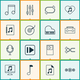 Audio Icons Set. Collection Of Stabilizer, Randomize, Note Elements. Also Includes Symbols Such As Next, Gramophone, Dj. - 175198944