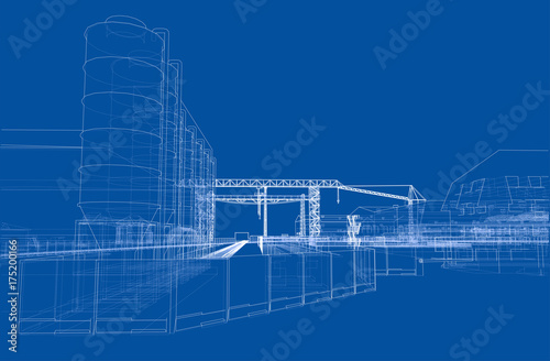 Industrial buildings. Vector - 175200166