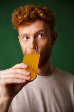 Curly Readhead Bearded Man Drinking Orange Juice Sticker