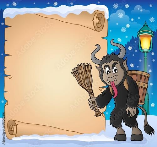 Deurstickers Voor kinderen Parchment with Krampus theme 1