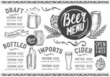 Beer menu restaurant, drink template. - 175203735