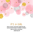 Baby Shower girl card design with abstract watercolor pink and glittering golden circles.
