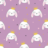 Princess bunny seamless pattern. Vector background with cute rabbits.