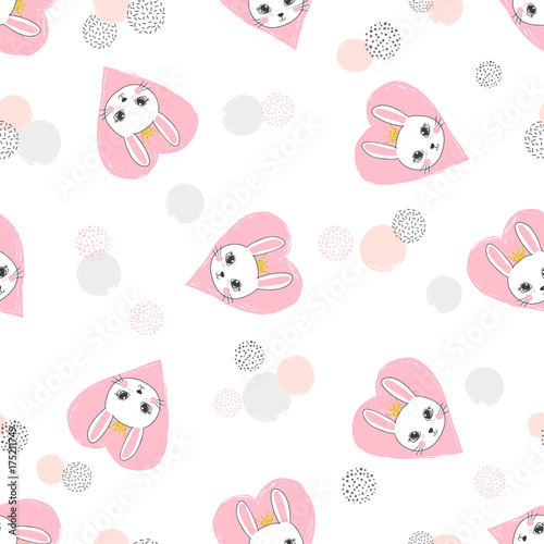 Fototapeta Seamless vector pattern with cute princess rabbit and pink hearts.