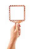 Beautiful vintage mirror for makeup in woman hand. - 175212994