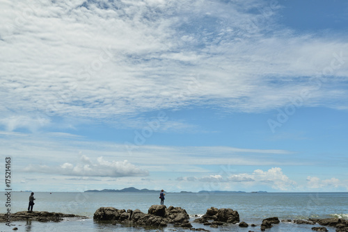 Outdoor fishing by the sea in summer Poster