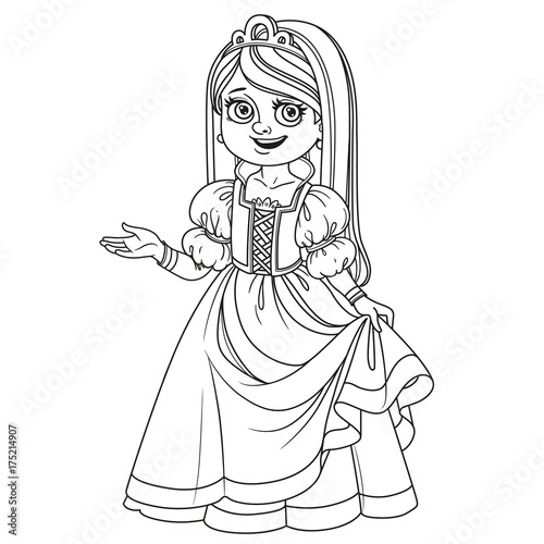 Cute girl in princess costume outlined for coloring page