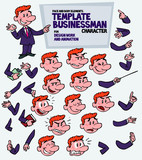 Red-haired businessman. Face and body elements, parts of body template for design work and animation. Vector illustration to Isolated and funny cartoon character.